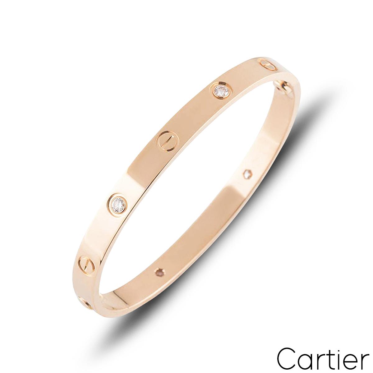 Cartier Rose Gold Half Diamond Love Bracelet Size 19 B6036019